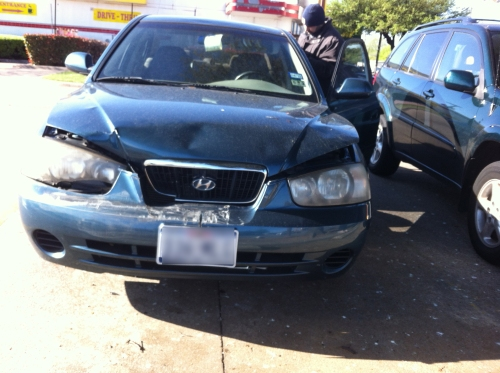 car damage driver behind