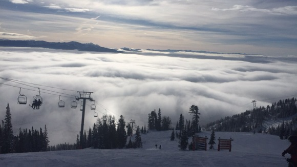 Jackson hole, mountains, viewtop, skyline, clouds, boarding, snowboarding