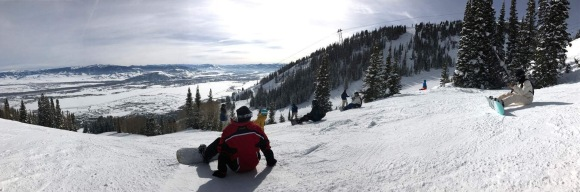 slopes, snowboarding, jackson hole, waiting, view, skyline, atop the mountain