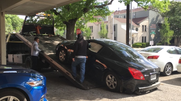 car crash, altima coupe, crash, towing, towed